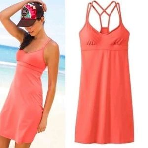 Athleta Coastline Coral Strappy Swim Dress Size M